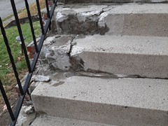 These steps had severe damage, including cracking and chunks missing.