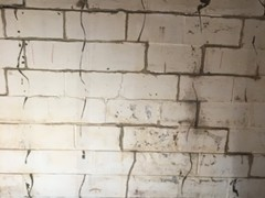You can see how the pressure being applied from outside of the wall has cause cracking along the seams of the concrete blocks as the wall is pushed inward