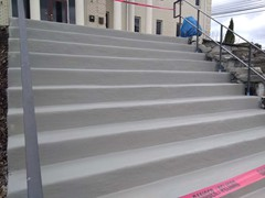 Before, during, and after photos of a set of stairs we repaired using polymer cement. Then resurfaced.  The finish for the stairs was our Grey colored Saf-T-Deck elastomeric sealant with anti-skid surface.